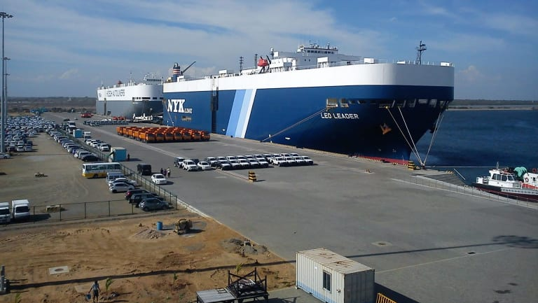 Hambantota port in Sri Lanka.