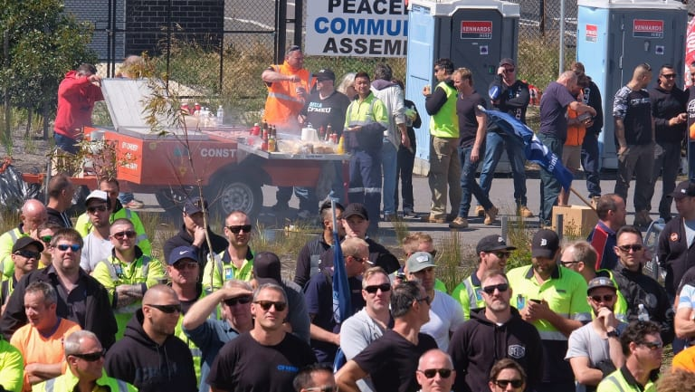 Union members from across Melbourne marched on Webb Dock on Friday.
