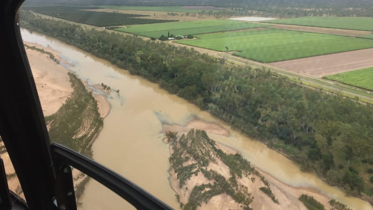 Sediment flowing down the Burdekin River towards Upstart Bay near Bowen.