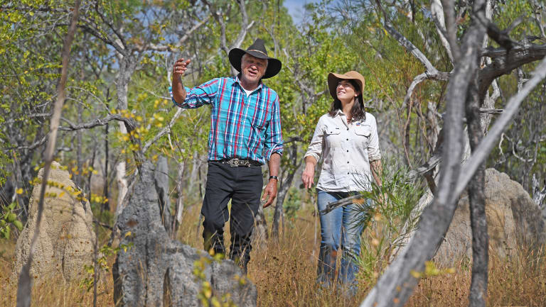 Olkola elder Mike Ross, leader of a national recovery team aiming to boost parrot numbers, with Bush Heritage ecologist Allana Brown.