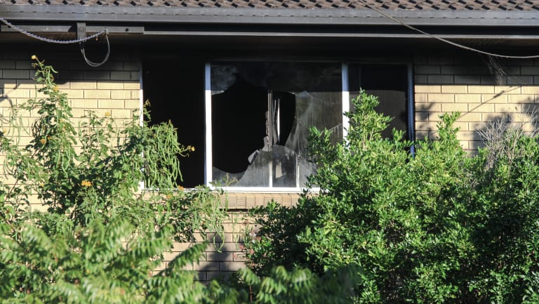 A window was smashed in the fire.