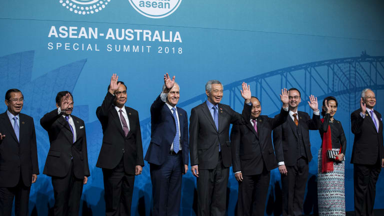 Prime Minister Malcolm Turnbull with other regional leaders at the ASEAN summit in Sydney on Saturday.