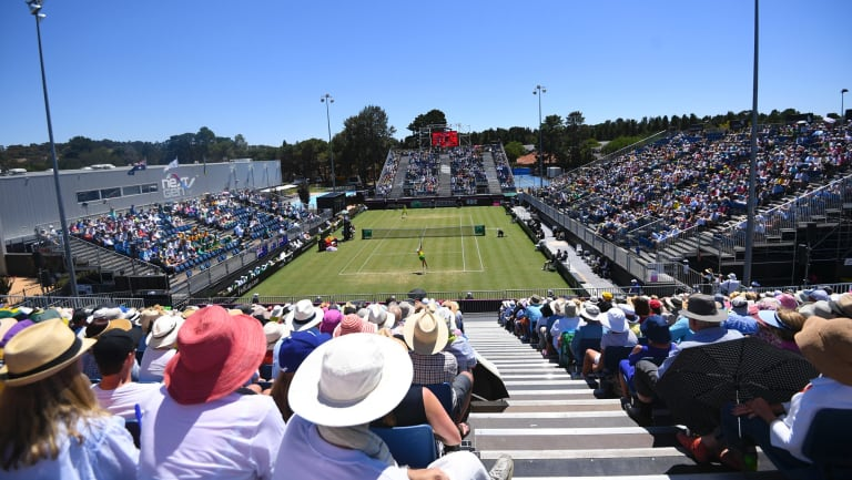 View of the Fed Cup World Group II Round 1 match between Australia and Ukraine at the Canberra Tennis Centre in February, 2018. Photo: AAP