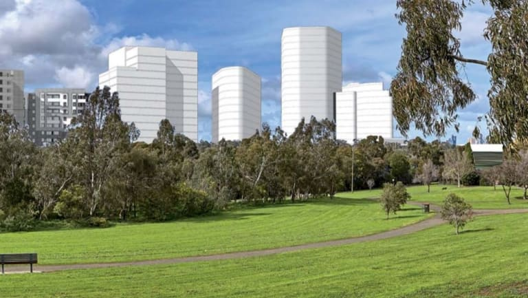 An artist's impression of how the proposed towers (in white) from Travancore could look.