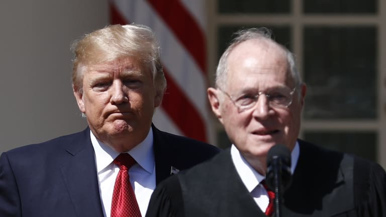 US President Donald Trump (left) and Justice Anthony Kennedy.