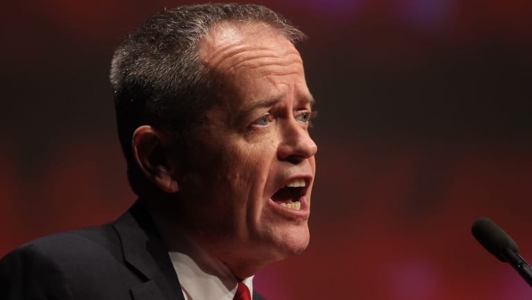Bill Shorten at the State Labor conference following his back flip on company tax cuts.