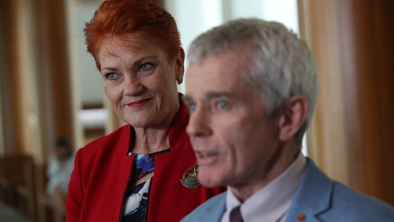 Malcolm Roberts with Senator Pauline Hanson after the High Court ruled him ineligible to sit in Parliament.