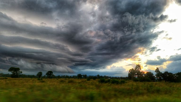 Severe storms over Rosewood, about 60 kilometres south-west of Brisbane, on Monday night.