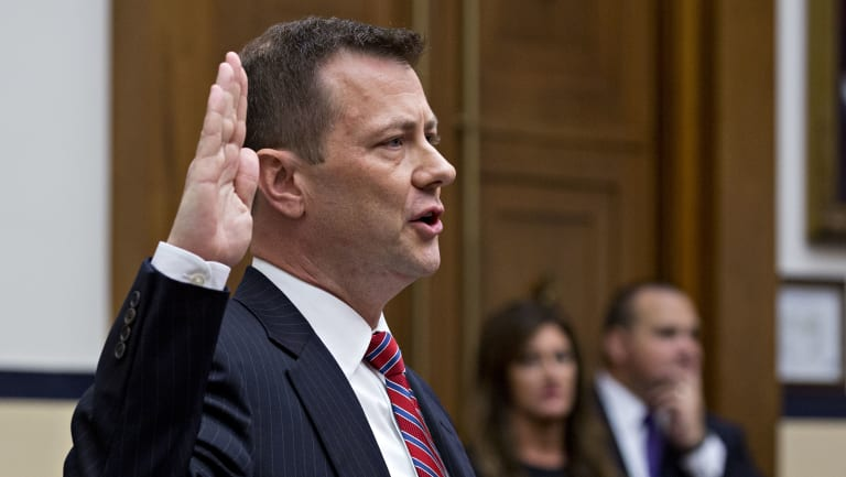 Peter Strzok, an agent at the Federal Bureau of Investigation swears in to a joint House Judiciary, Oversight and Government Reform Committee