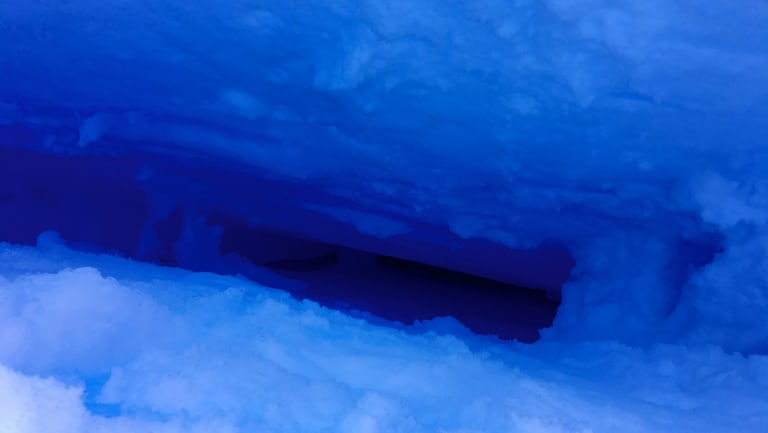 The crevasse into which David Wood fell in Antarctica.