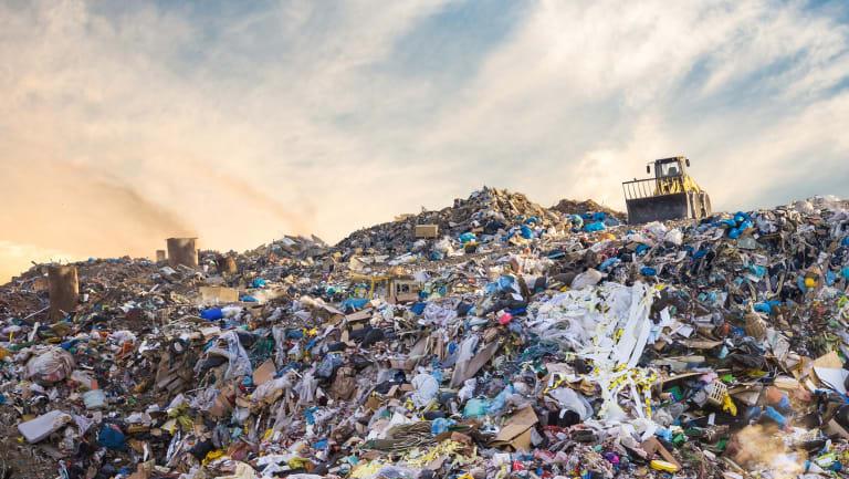 Garbage pile in landfill