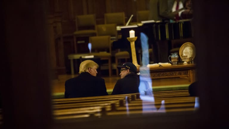 Donald Trump, the candidate, attends a church service at the First Presbyterian Church in Muscatine, Iowa,in 2016.