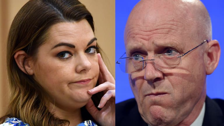 Greens Senator Sarah Hanson-Young, and Liberal Democrats senator David Leyonhjelm.