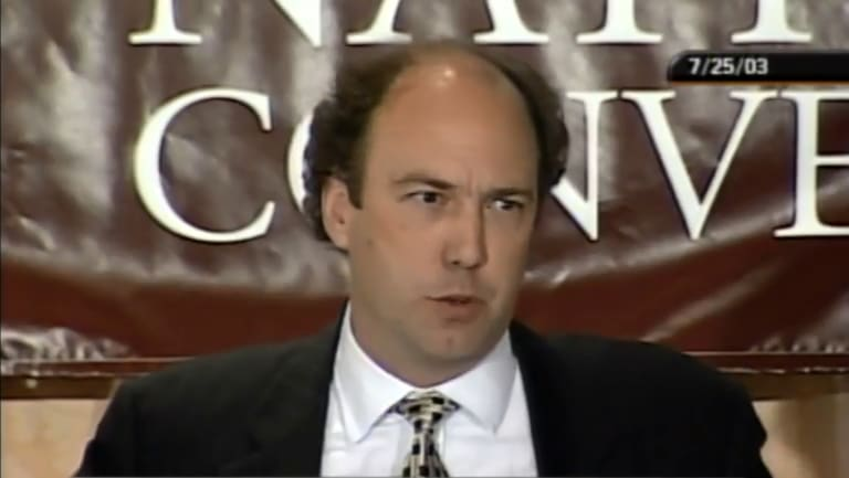 Paul Erickson, Republican, who matches the description of the US citizen in the Butina indictment in a screengrab from 2003.
