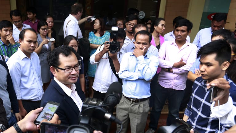 Kay Kimsong exits the Phnom Penh Post after being fired by the newspaper's new owner.