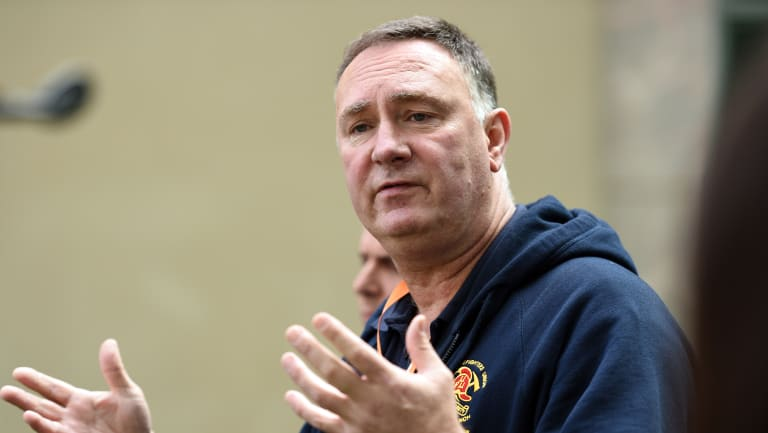 United Firefighters Union Secretary Peter Marshall in 2016.