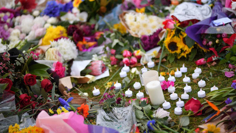 Flowers laid at the site where Melbourne comedian Eurydice Dixon was found.