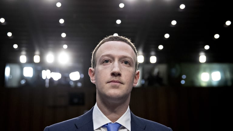 Mark Zuckerberg, Facebook CEO and founder, at a US Senate committee hearing.