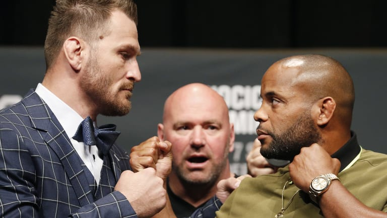 Face to face: Daniel Cormier and Stipe Miocic before their fight.