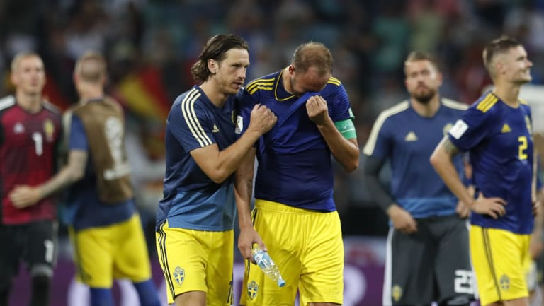 The Swedes were devastated after conceding a last-minute winner to Germany.