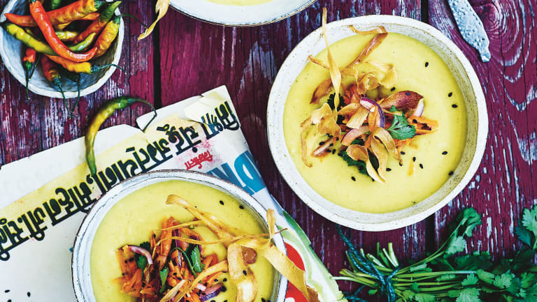 Fragrant parsnip and lentil soup from 'Vegan 100'.