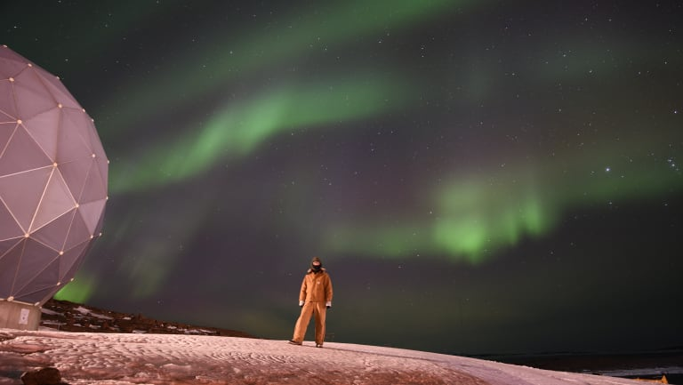 One of the stunning auroras Mr Cameron has seen during his time on the ice.
