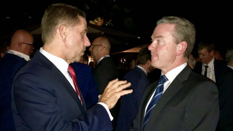 Queensland State Development Minister Cameron Dick speaking to federal Defence Industry Minister Christopher Pyne.