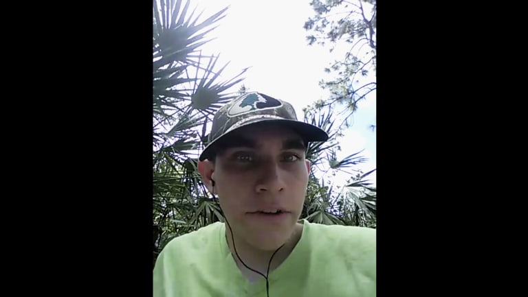 Nikolas Cruz announces his intention to become the next school shooter in a mobile phone video.