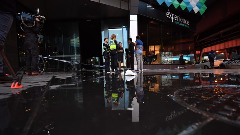 Flooded apartment building in Southbank.