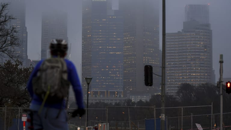 The foggy commute on Thursday morning in Melbourne.