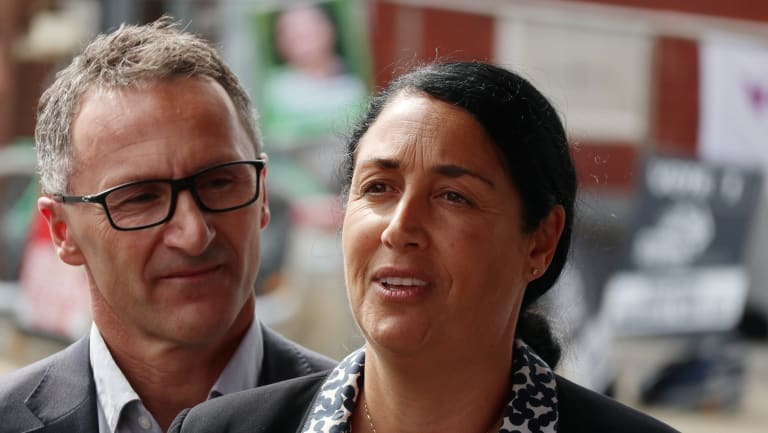 Greens candidate Alex Bhathal (right) and Greens senator Richard Di Natale before the Batman byelection.