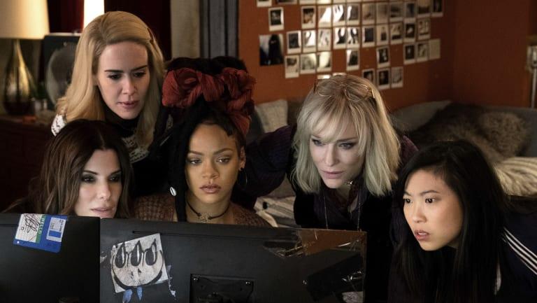 From left: Sandra Bullock, Sarah Paulson, Rihanna, Cate Blanchett and Awkwafina in Ocean's 8.