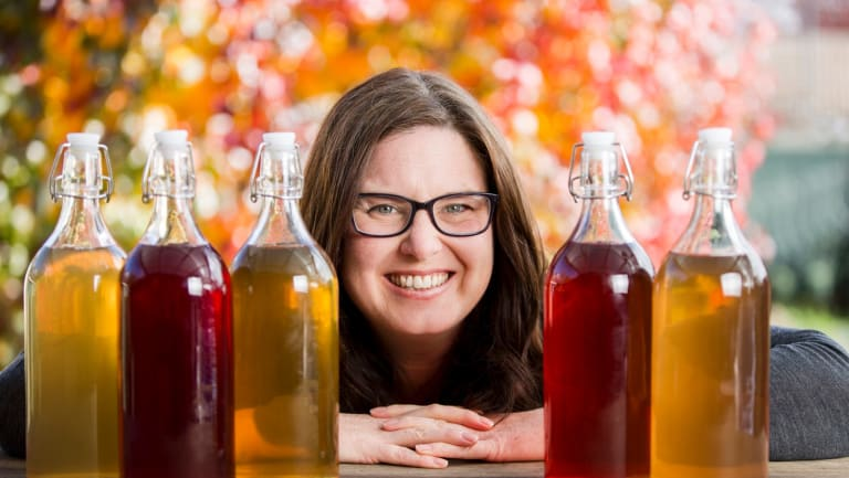 Nutritionist Jane McIntyre with her DIY kombucha.