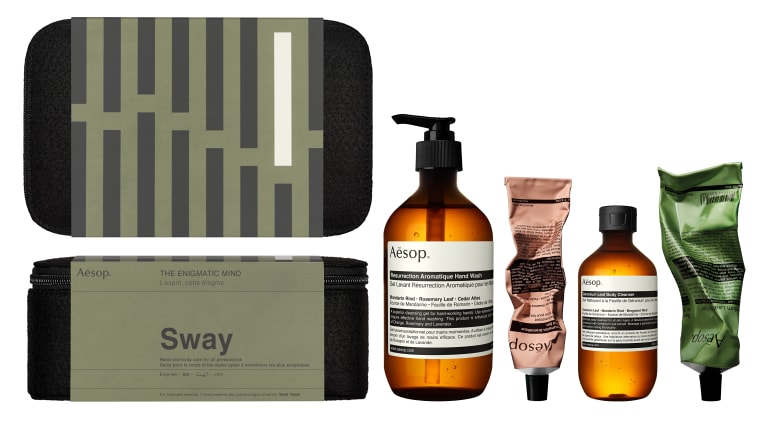 A sample kit of Aesop soaps and creams.