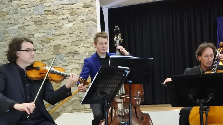 Members of the Canberra Symphony Orchestra playing to school students at St Gregory's Primary School in Queanbeyan as part of the Music In My School program.