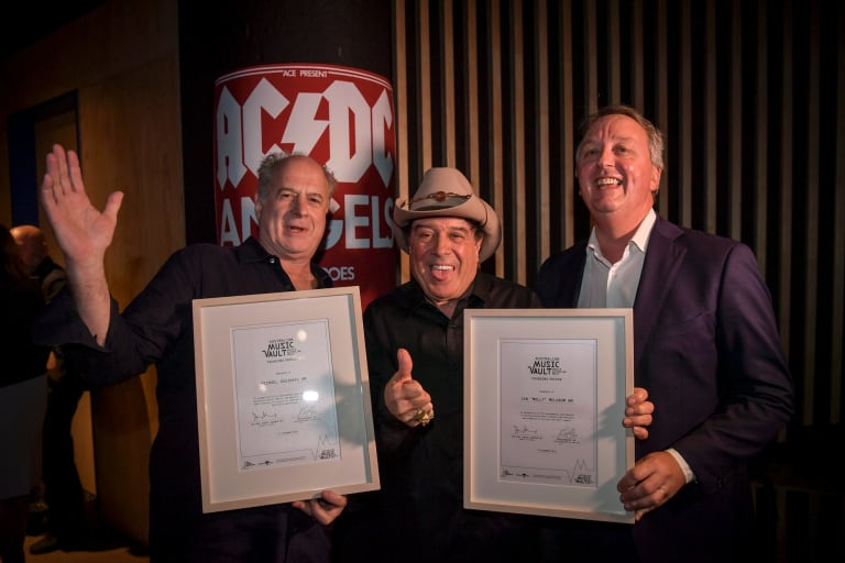 Victoria's Creative Industries minister Martin Foley, pictured   in 2016 with Molly Meldrum and Michael Gudinski, said Melbourne is the live music capital of Australia.