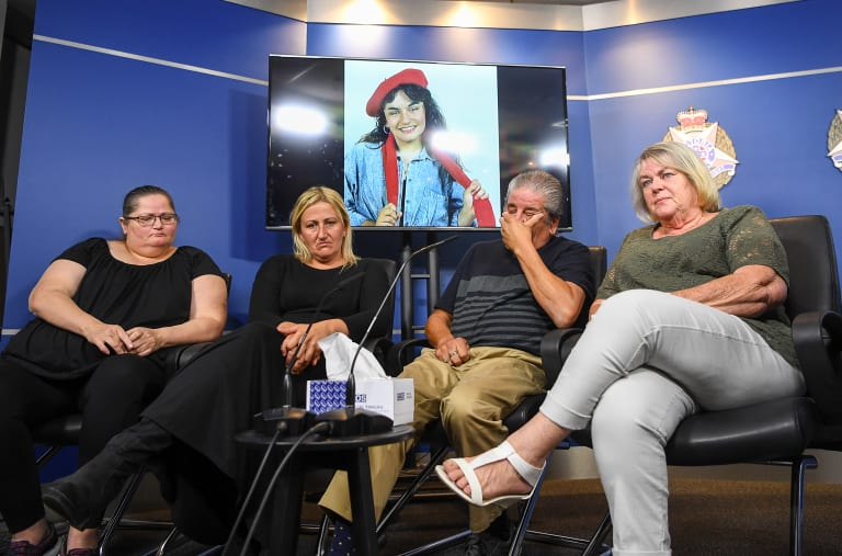 Sarah's family (from left to right) including her sisters Kathleen Gatt and Allison Gorman, her father Victor Gatt and stepmother Cheryl Gatt appealed for information on Tuesday.