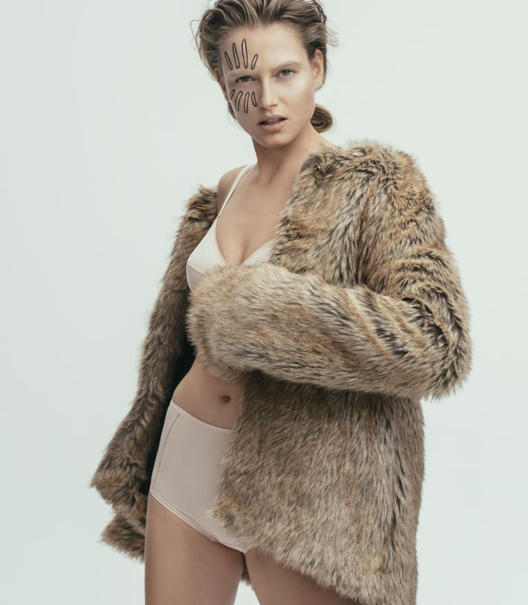 "Kate Sylvester ""Marcellus"" jacket, $599. Eres ""Lydia"" bra, $285, and briefs, $170, from Sylvia Rhodes."