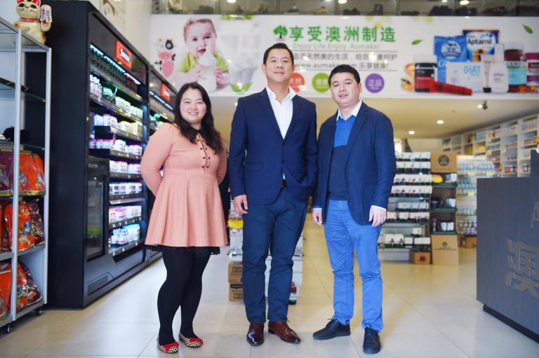 Chairman Keong Chan (centre) with AuMake co-founders Joshua Zhou and Lyn Zheng.