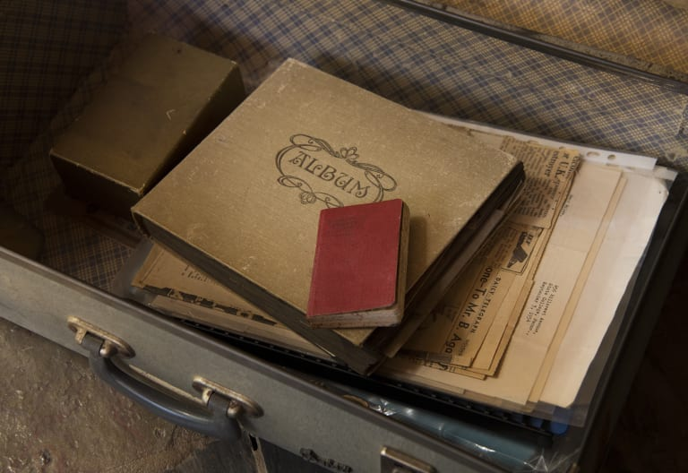 Miles Franklin's diary in the suitcase that it was found in.