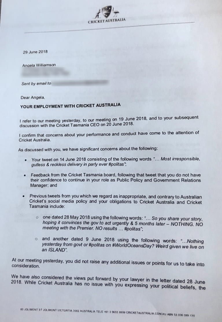 Angela Williamson's letter of termination.