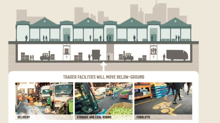 A diagram showing the council's plan to put services for market traders below ground. Since this image was created, the council has decided to dig down further -  to three levels, to also include parking for 220 cars.