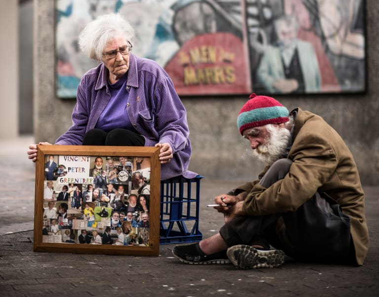 Carole Ann, friend and carer of Vincent Greentree, with Kenneth Gurney, another homeless man who knew Vincent for more than 20 years.
