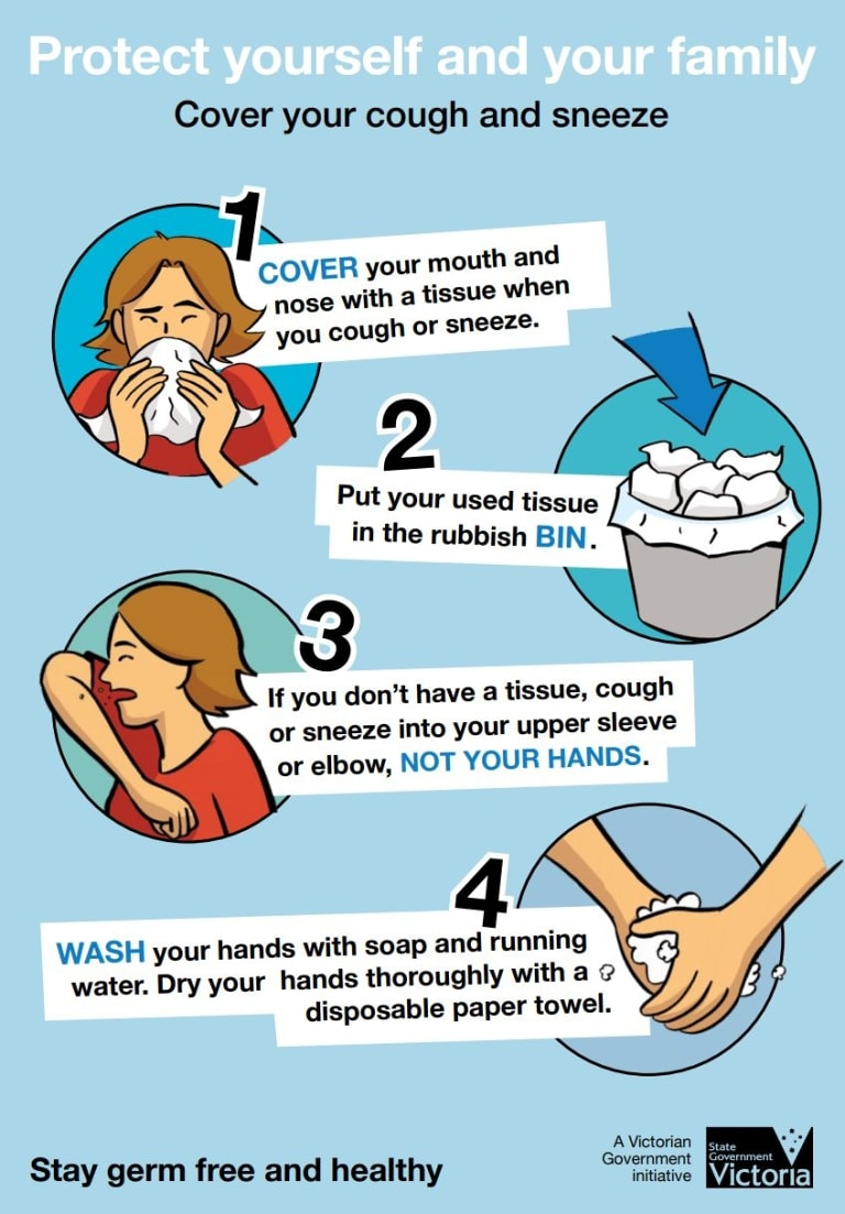 The state government's guide for what to do when you feel like you're about to cough or sneeze.