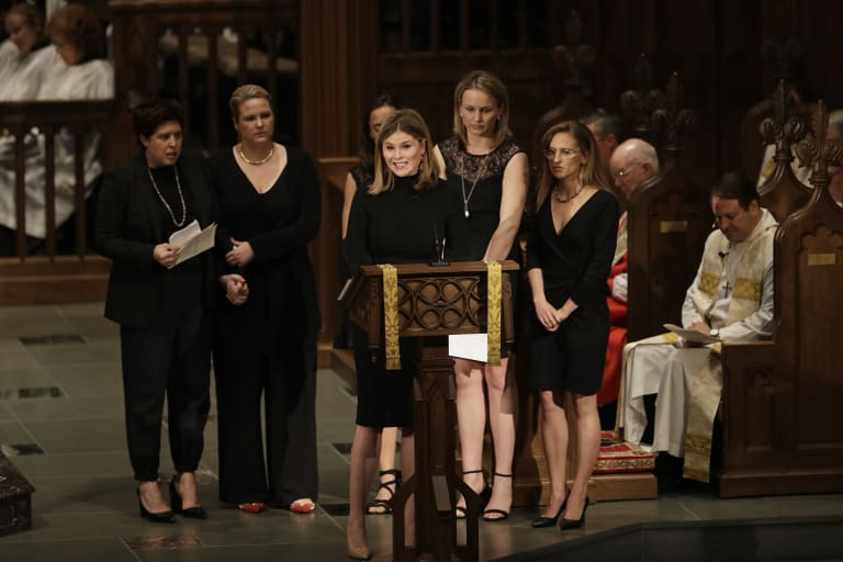 Jenna Bush Hager speaks during the funeral service.