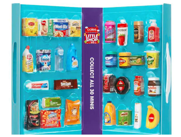 Coles is giving away toy plastic replicas of some of its grocery products.