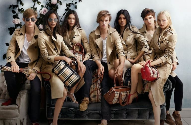 An advertisement for Burberry, who have been criticised for burning stock so they do not have to sell it at a lower price.