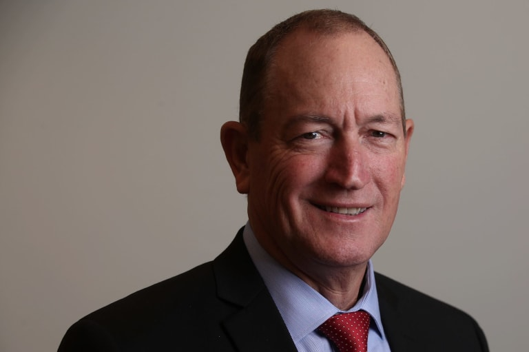 Senator Fraser Anning in his Senate office at Parliament House in Canberra.