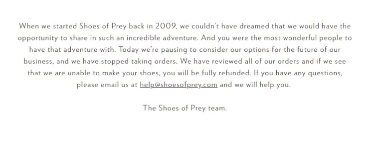 """Shoes of Prey shut its website for a """"pause"""" on Tuesday."""