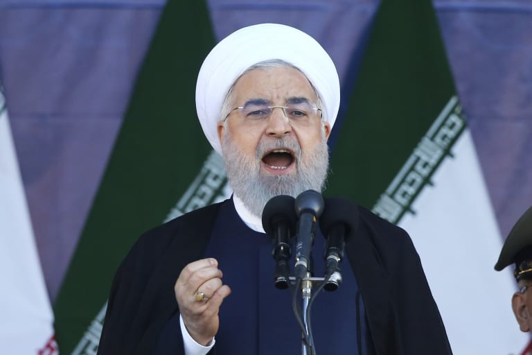 Iran's President Hassan Rouhani speaks at the military parade before disaster struck.
